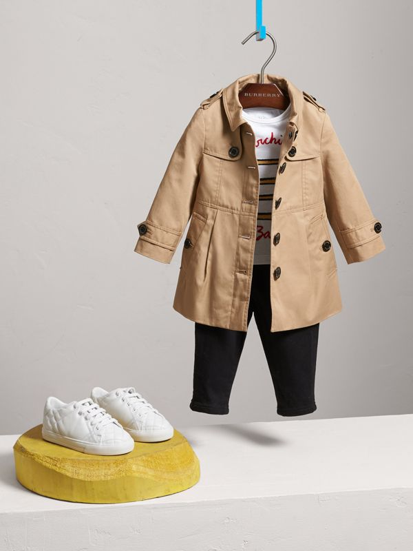 Cotton Single-breasted Trench Coat in Honey - Children | Burberry - cell image 2