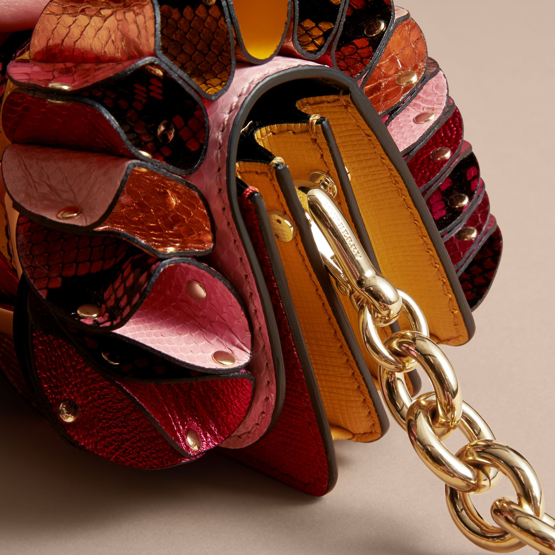 The Ruffle Buckle Bag in Snakeskin and Calf Leather - gallery image 7