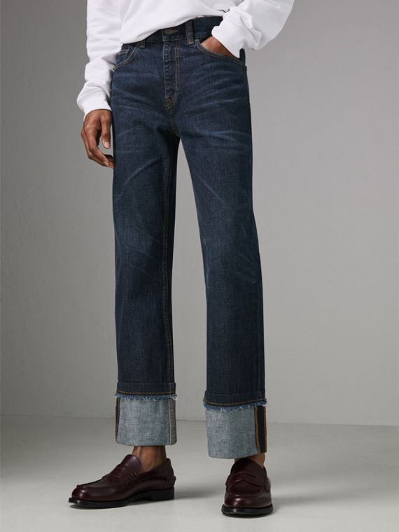 Relaxed Fit Marble-wash Jeans in Dark Indigo