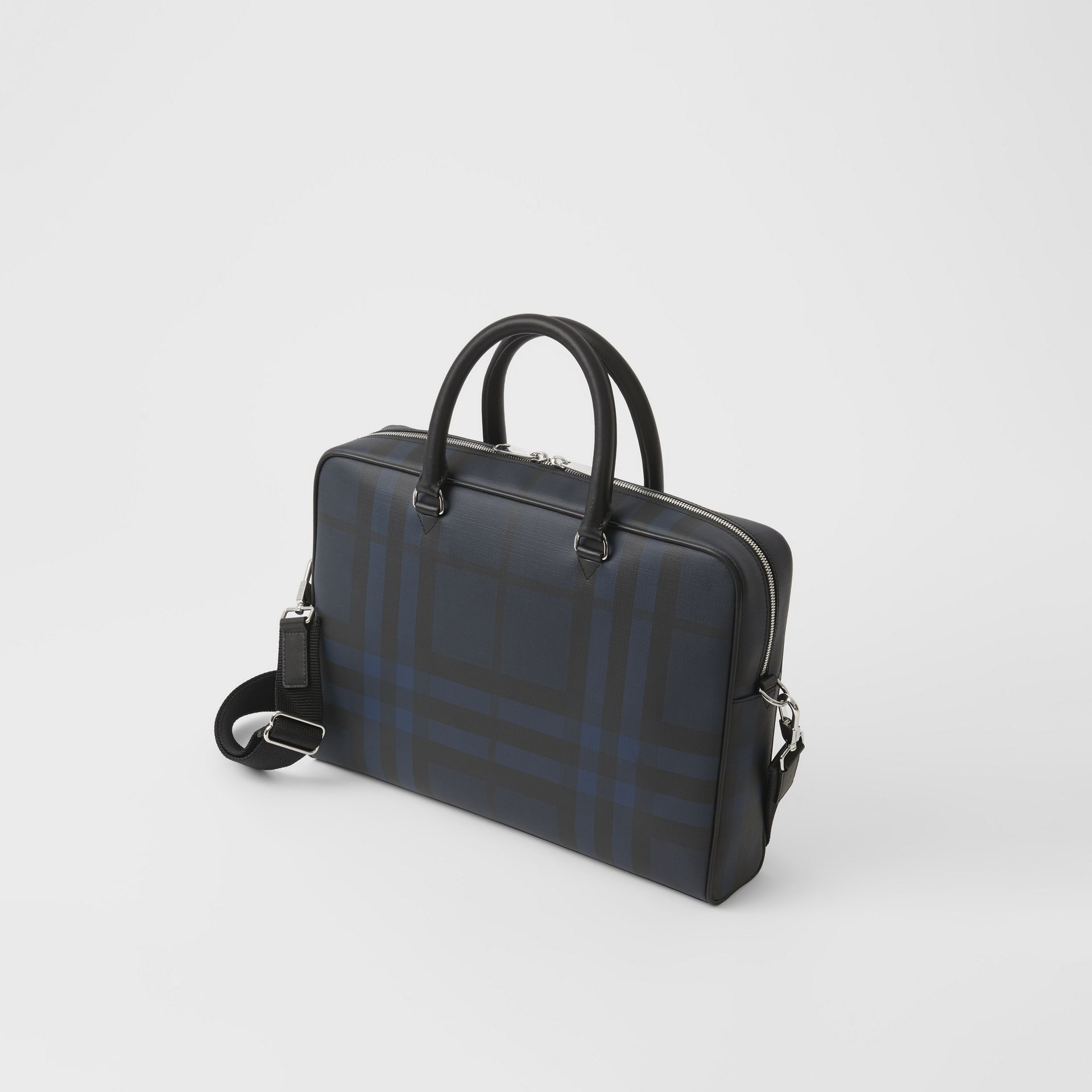 Large London Check Briefcase in Navy/black - Men | Burberry United States - gallery image 2