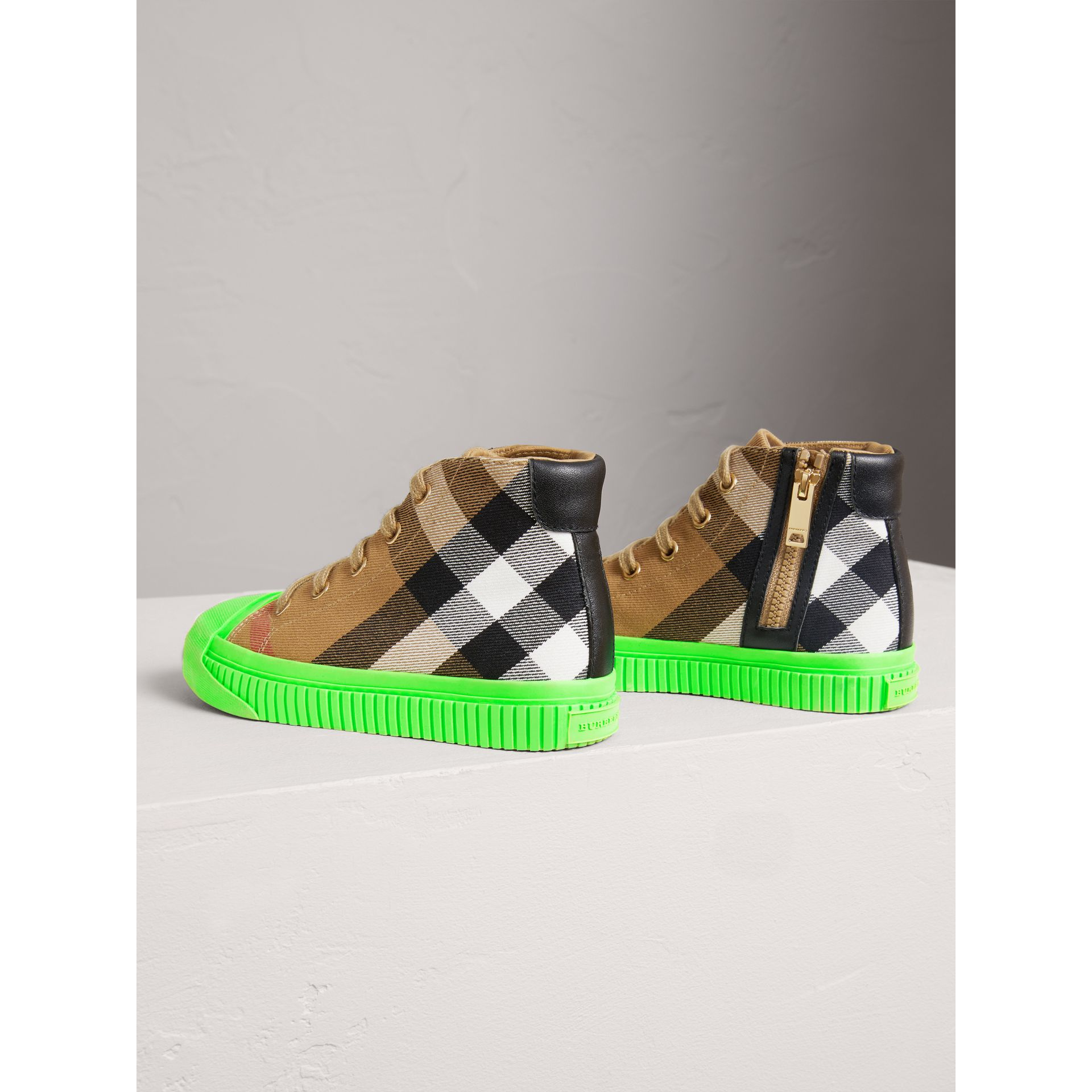 House Check and Leather High-top Sneakers in Classic/neon Green | Burberry - gallery image 2