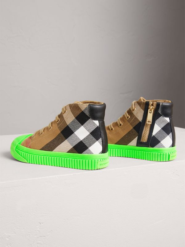 House Check and Leather High-top Sneakers in Classic/neon Green - Children | Burberry United Kingdom - cell image 2