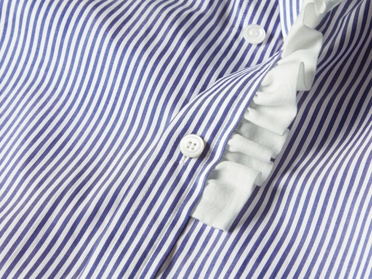 Mid indigo Ruffle Detail Striped Cotton Shirt - cell image 1