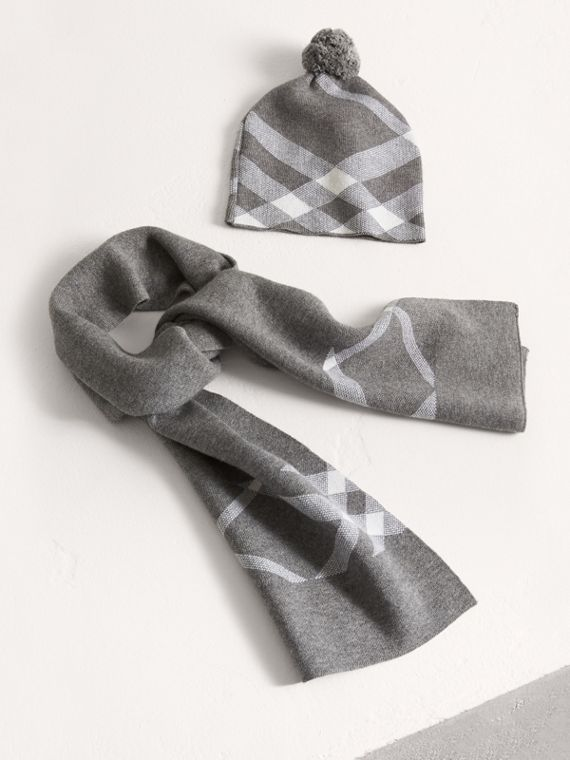 Check Cotton Cashmere Two-piece Gift Set in Mid Grey Melange