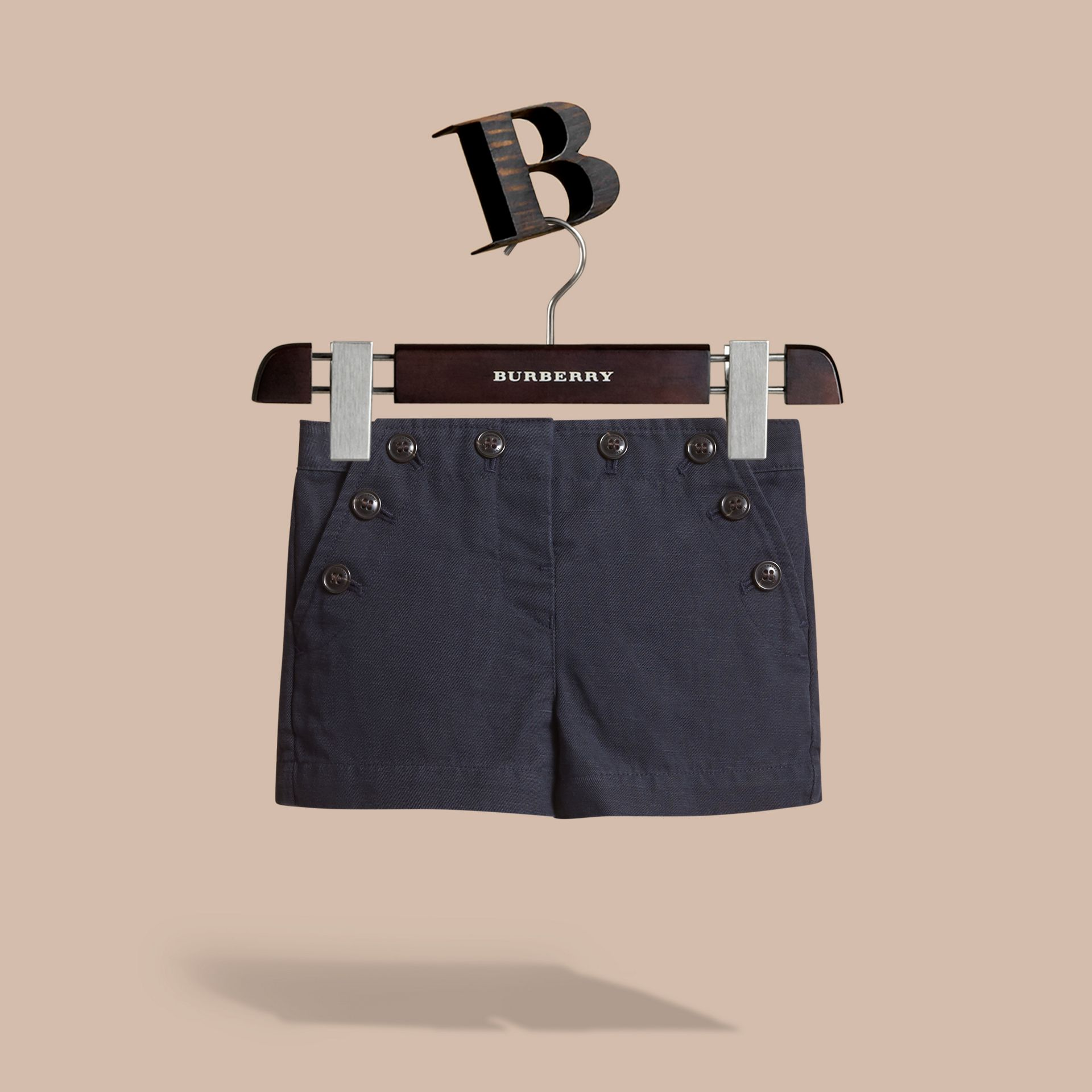 Button Detail Cotton and Linen Shorts in Navy - gallery image 1