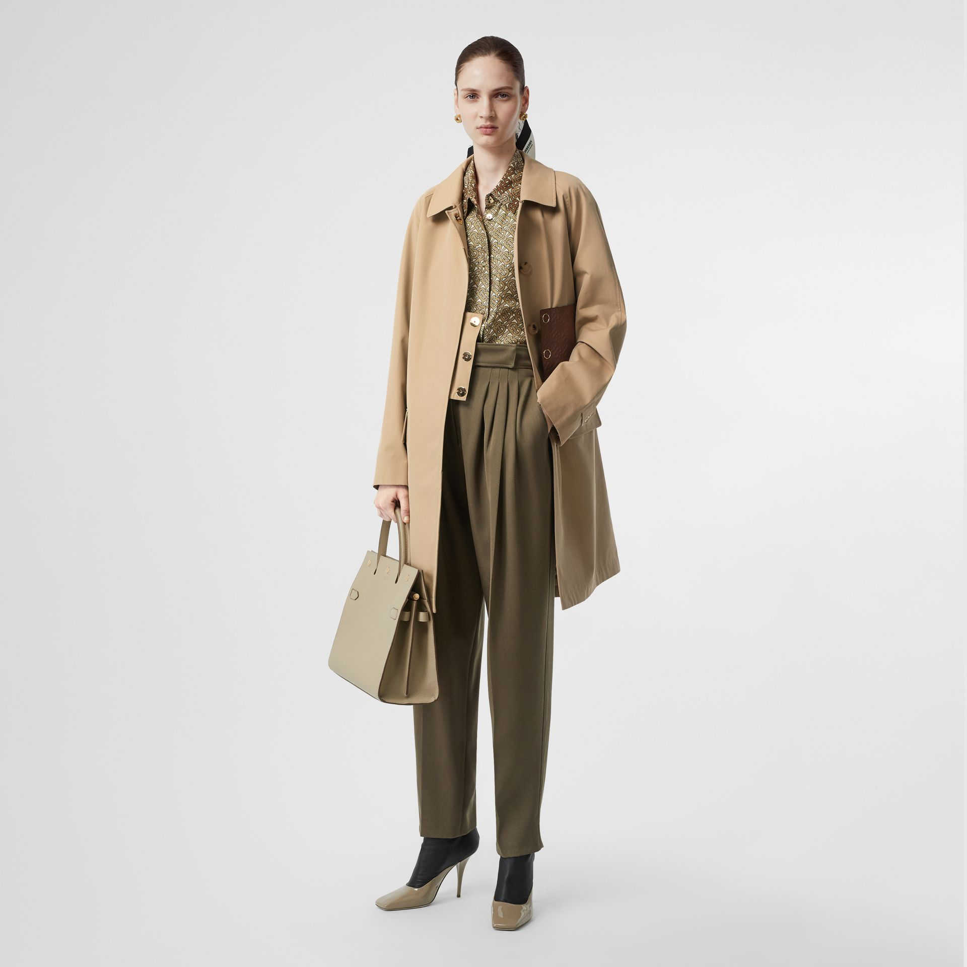 Monogram Leather Detail Cotton Gabardine Car Coat in Honey - Women | Burberry - gallery image 0