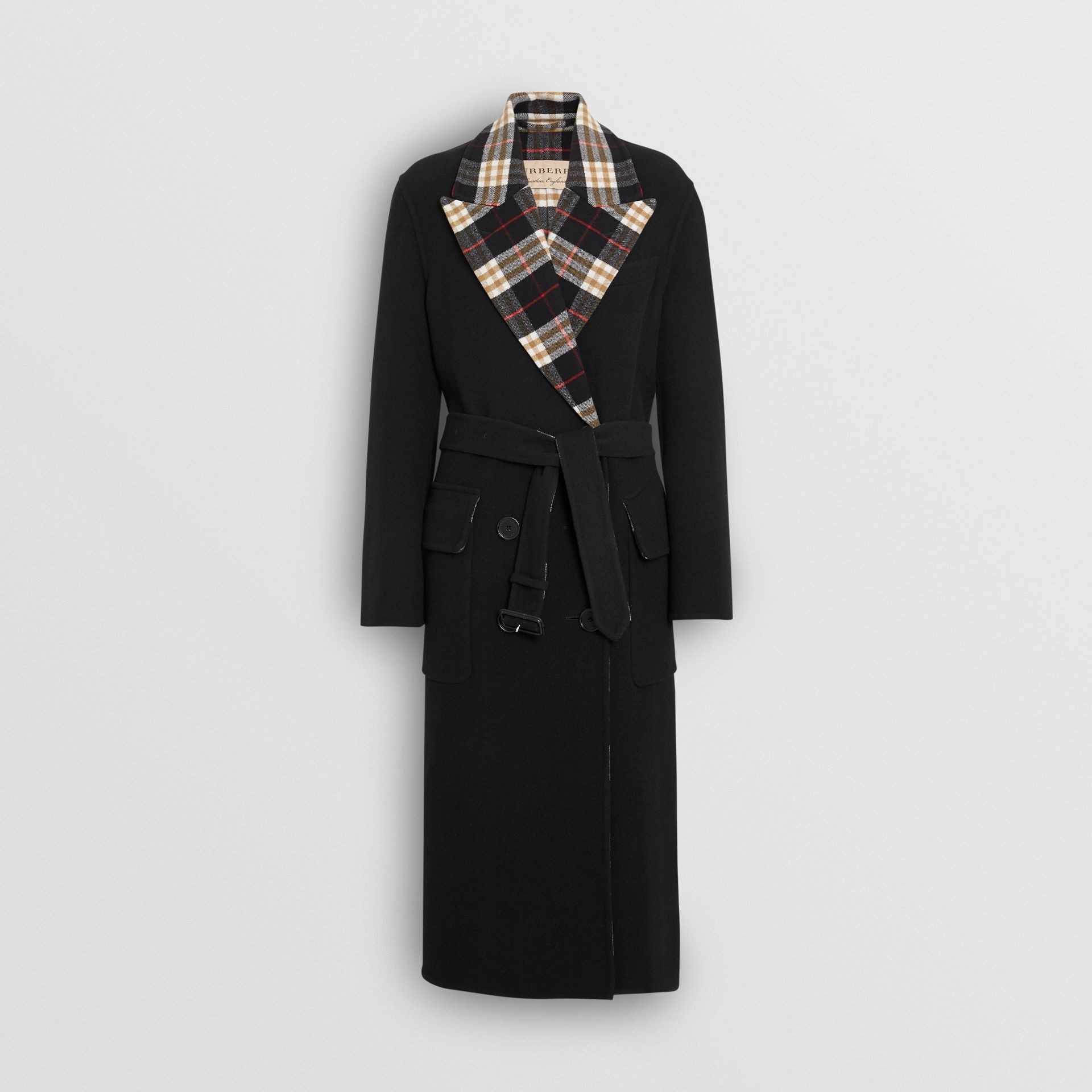 Check-lined Wool Cashmere Double-breasted Coat in Black - Women | Burberry - gallery image 3
