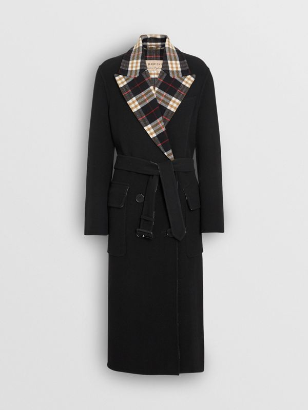 Check-lined Wool Cashmere Double-breasted Coat in Black - Women | Burberry - cell image 3