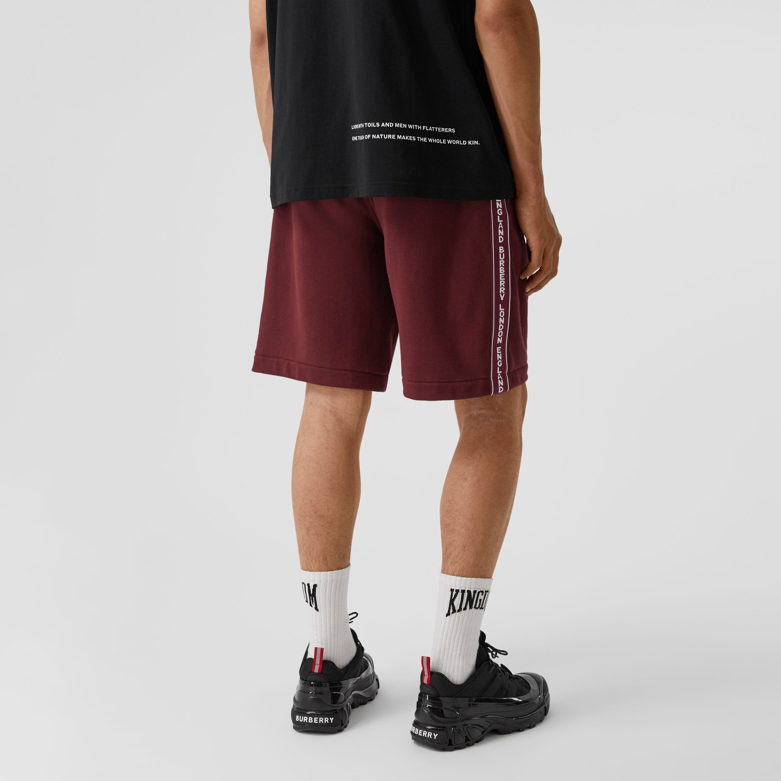 Logo Tape Cotton Drawcord Shorts in Deep Merlot - Men | Burberry Hong Kong S.A.R. - 3