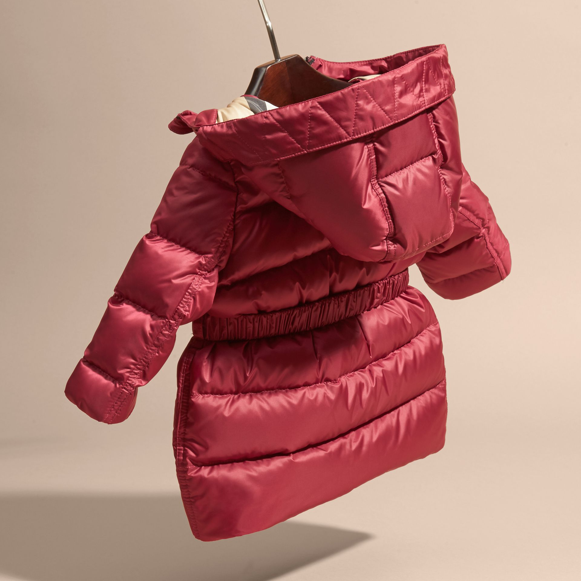 Dark plum pink Down-filled Hooded Coat with Bow Detail Dark Plum Pink - gallery image 4