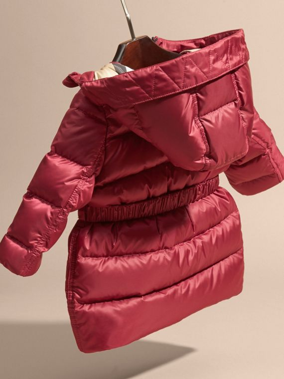 Dark plum pink Down-filled Hooded Coat with Bow Detail Dark Plum Pink - cell image 3