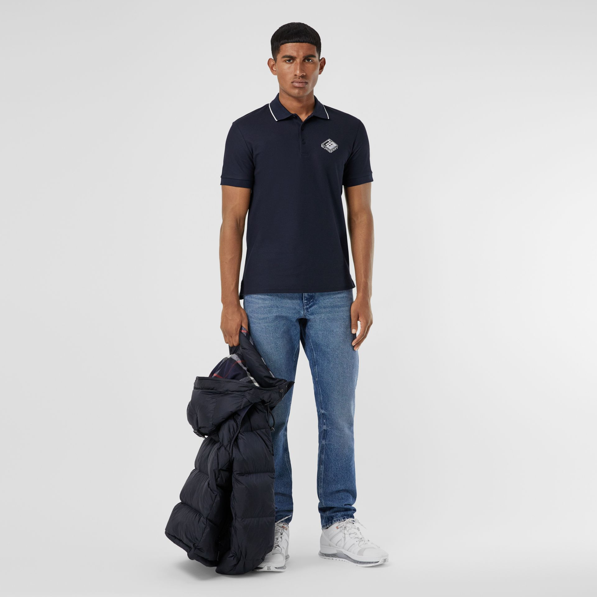 Logo Graphic Cotton Piqué Polo Shirt in Navy - Men | Burberry United States - gallery image 0