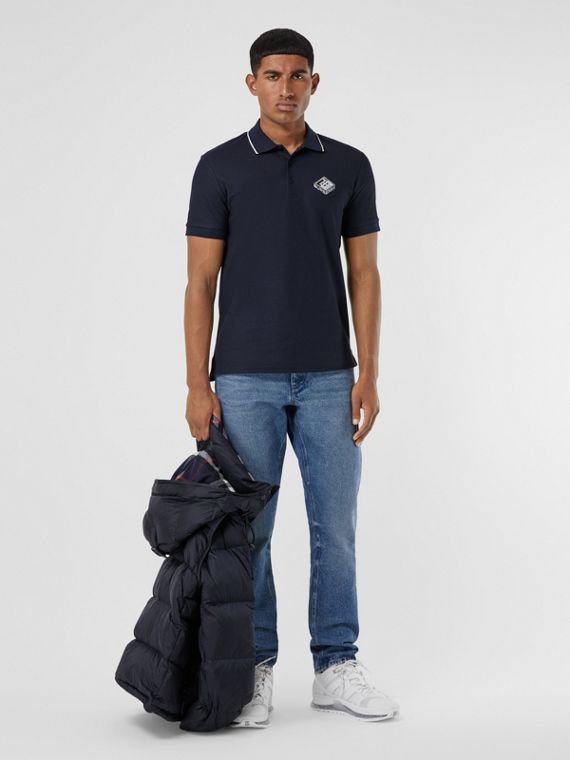 Logo Graphic Cotton Piqué Polo Shirt in Navy