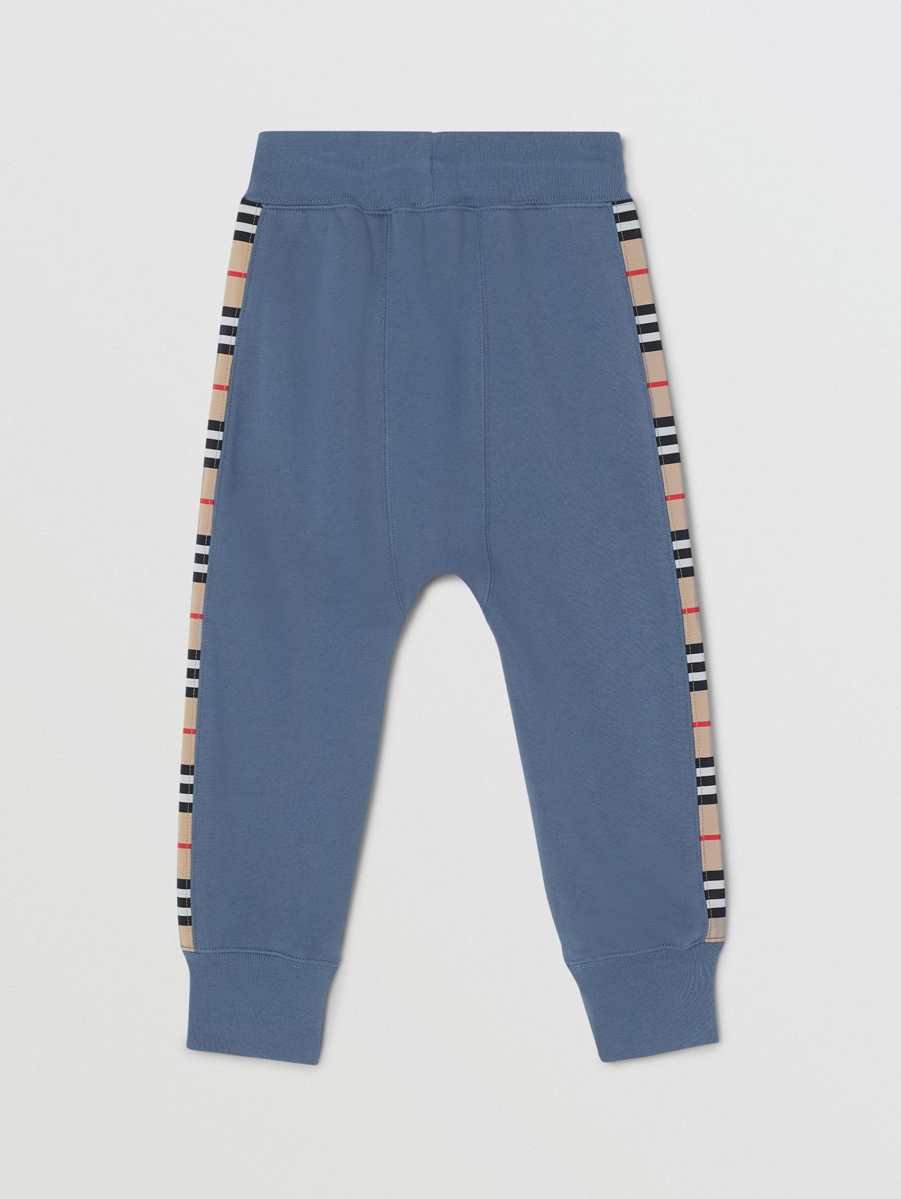 Icon Stripe Panel Cotton Jogging Pants in Steel Blue