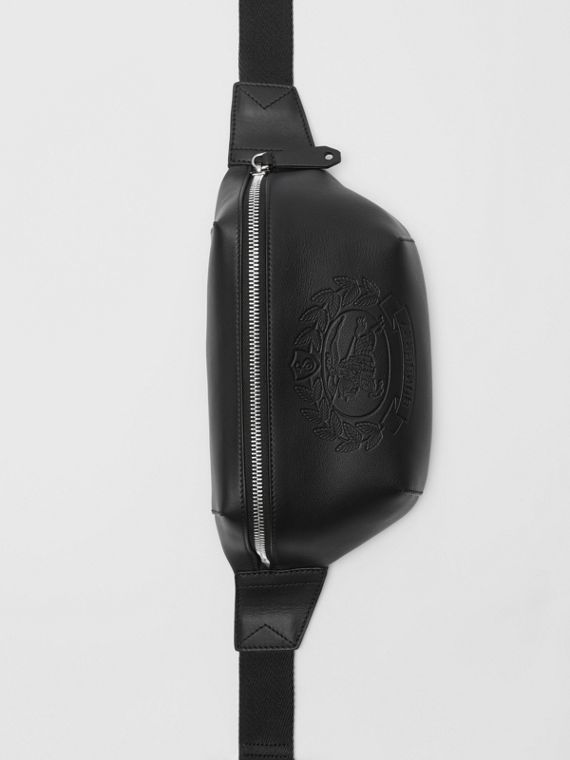 Medium Embossed Crest Leather Bum Bag in Black