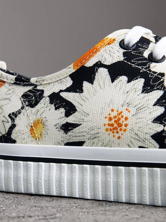 Daisy Print Cotton Canvas Sneakers in Black - Men | Burberry - cell image 1