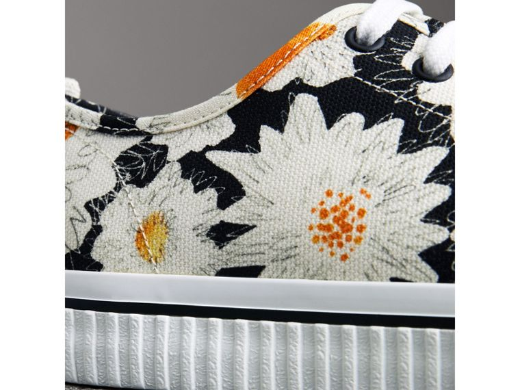 Daisy Print Cotton Canvas Sneakers in Black | Burberry - cell image 1