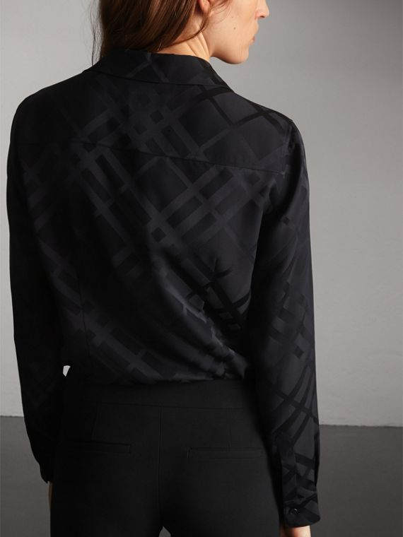Tonal Check Silk Shirt in Black - Women | Burberry - cell image 2