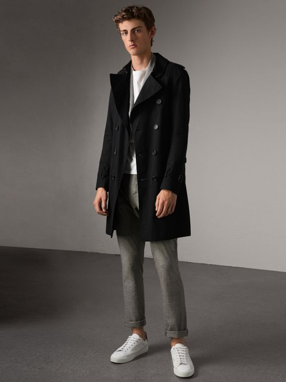 The Sandringham – Long Trench Coat in Black