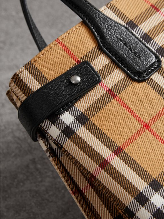 The Small Banner in Vintage Check and Leather in Black - Women | Burberry Australia - cell image 1