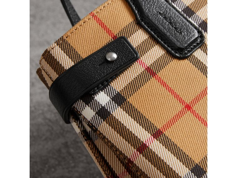 The Small Banner in Vintage Check and Leather in Black - Women | Burberry - cell image 1