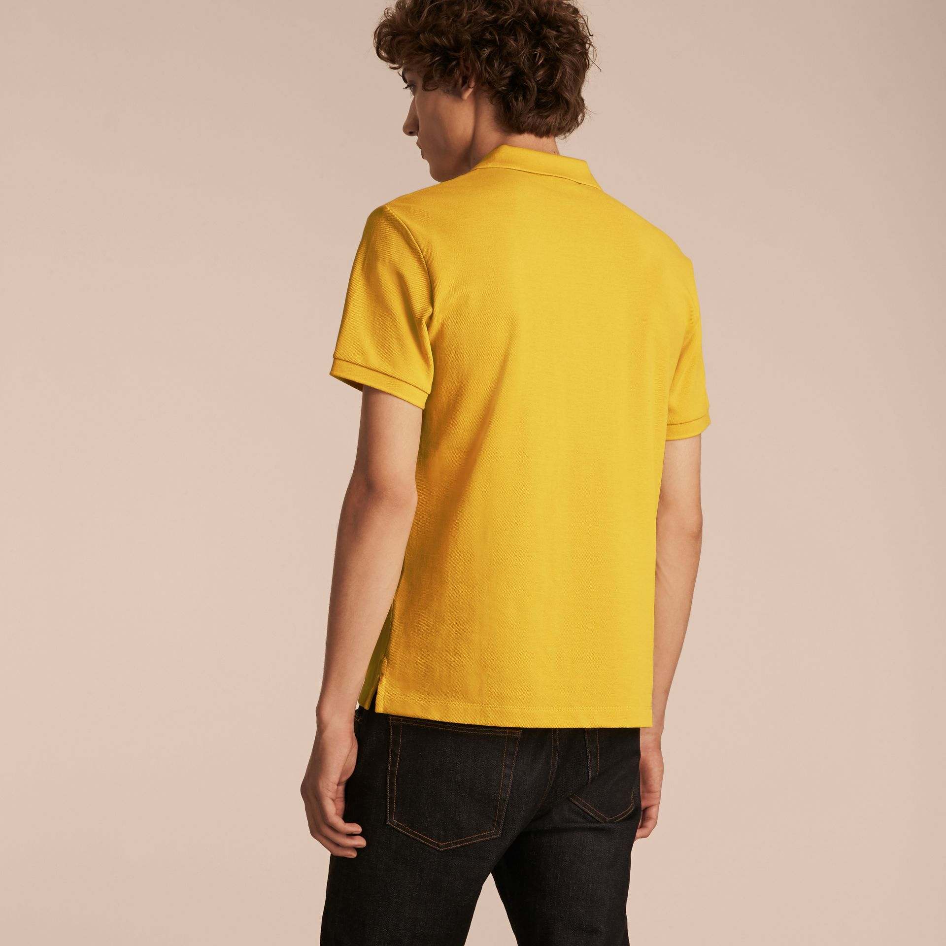Check Placket Cotton Piqué Polo Shirt in Daffodil - gallery image 3