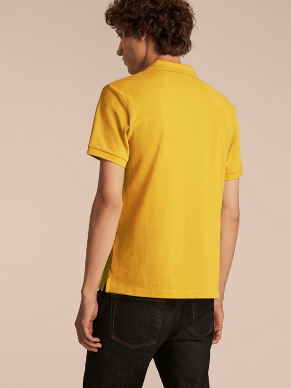 Check Placket Cotton Piqué Polo Shirt in Daffodil - cell image 2