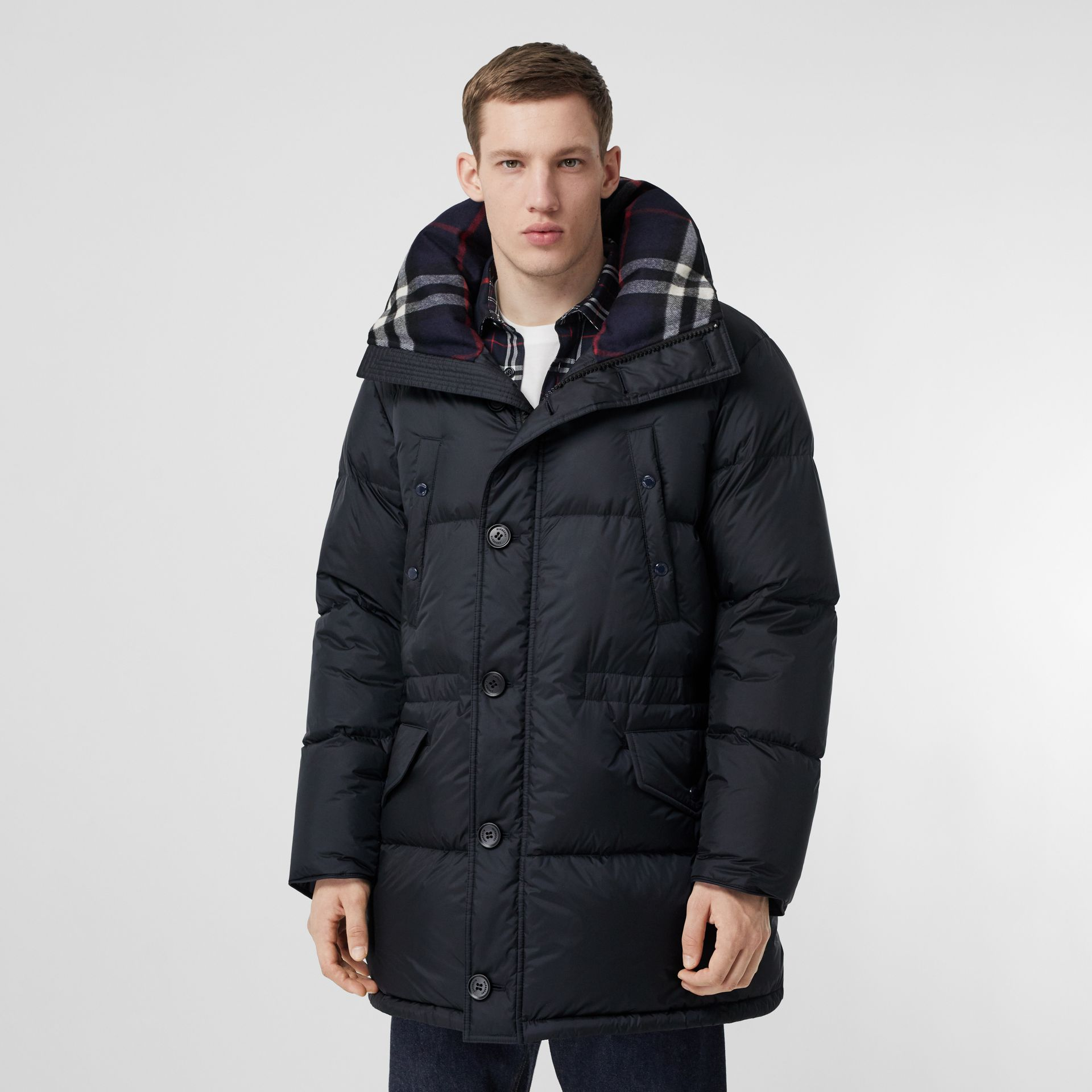 Logo Detail Hooded Puffer Coat in Navy - Men | Burberry Singapore - gallery image 6