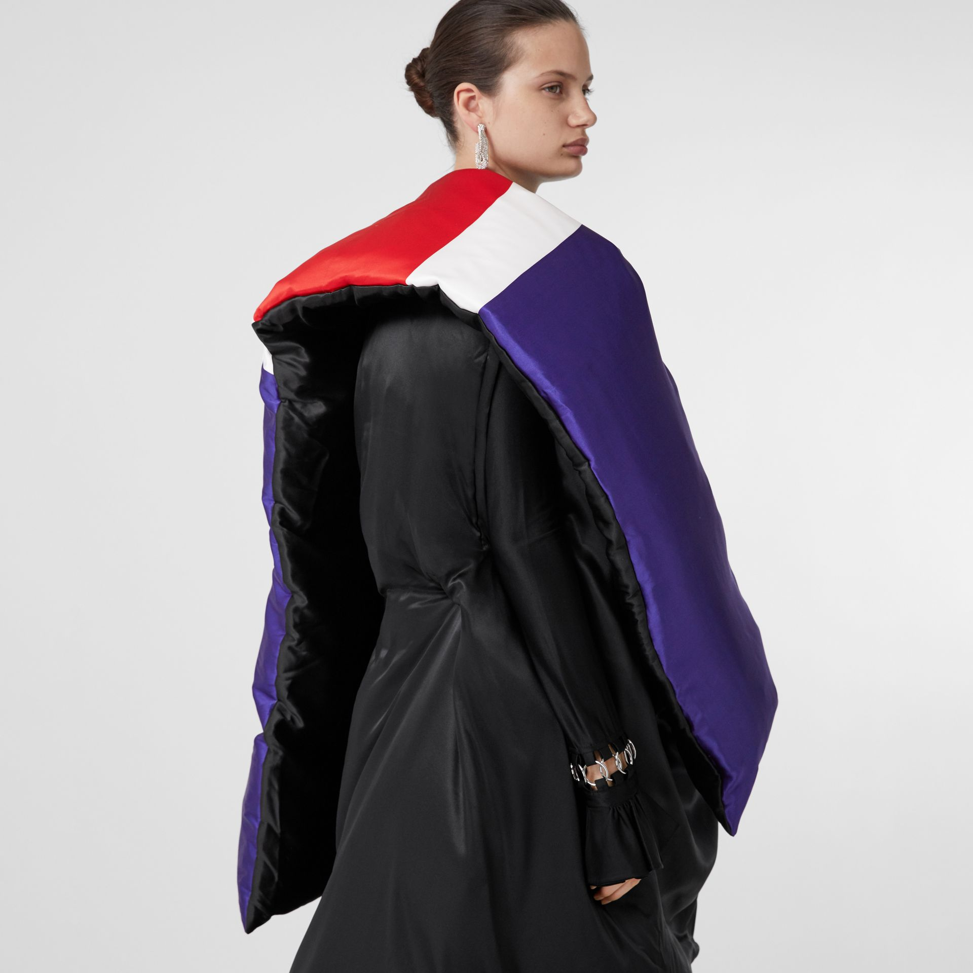 Union Jack and Logo Print Oversized Puffer Cape in Multicolour | Burberry United States - gallery image 7