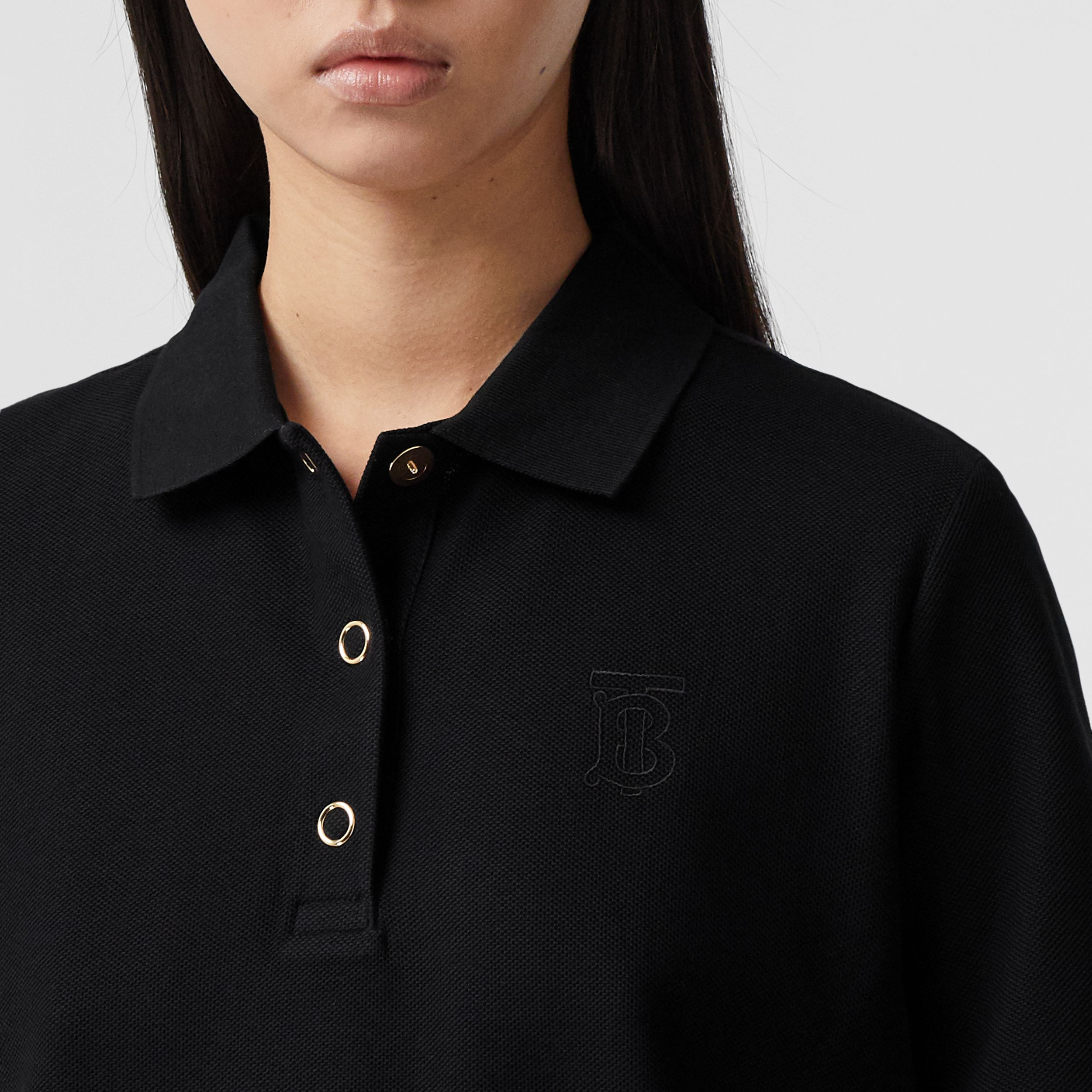 Monogram Motif Cotton Piqué Polo Shirt in Black - Women | Burberry - 2