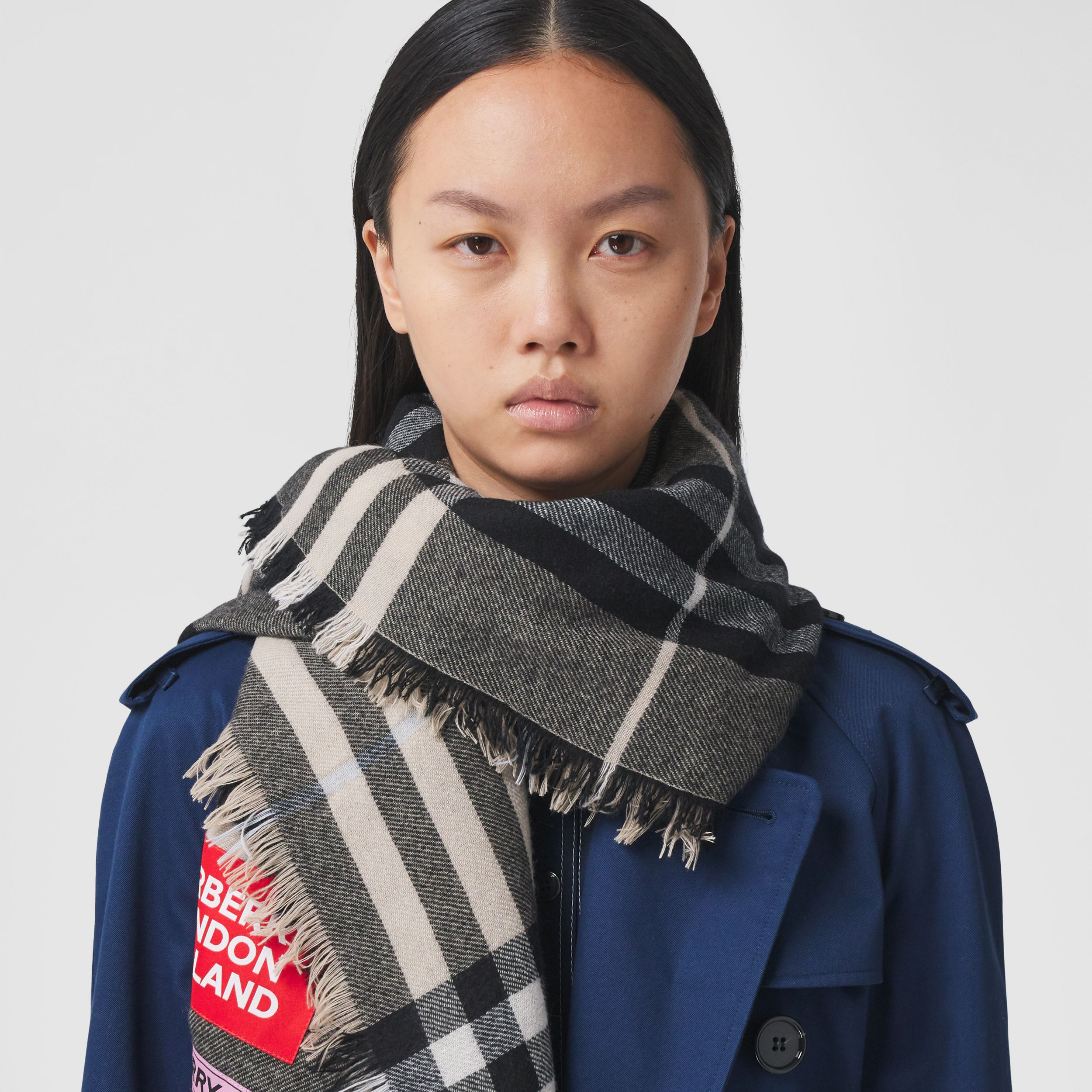 Logo Graphic Check Cashmere Large Square Scarf in Dusty Sand | Burberry - 3