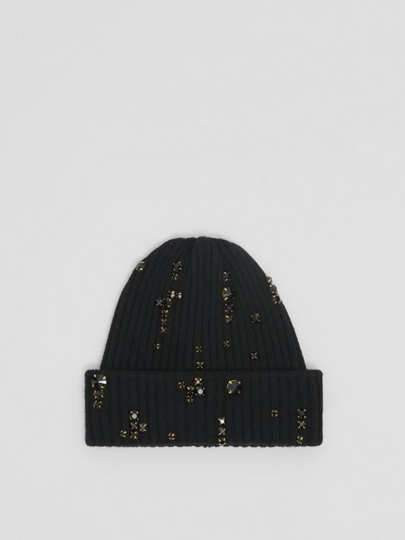Embellished Rib Knit Wool Beanie in Black