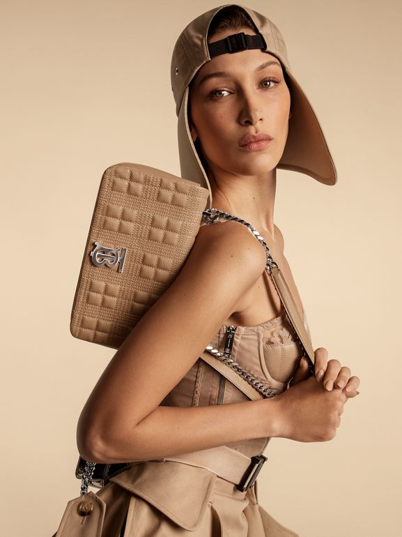 Small Quilted Metallic Leather Lola Bag in Silver - Women | Burberry - cell image 1