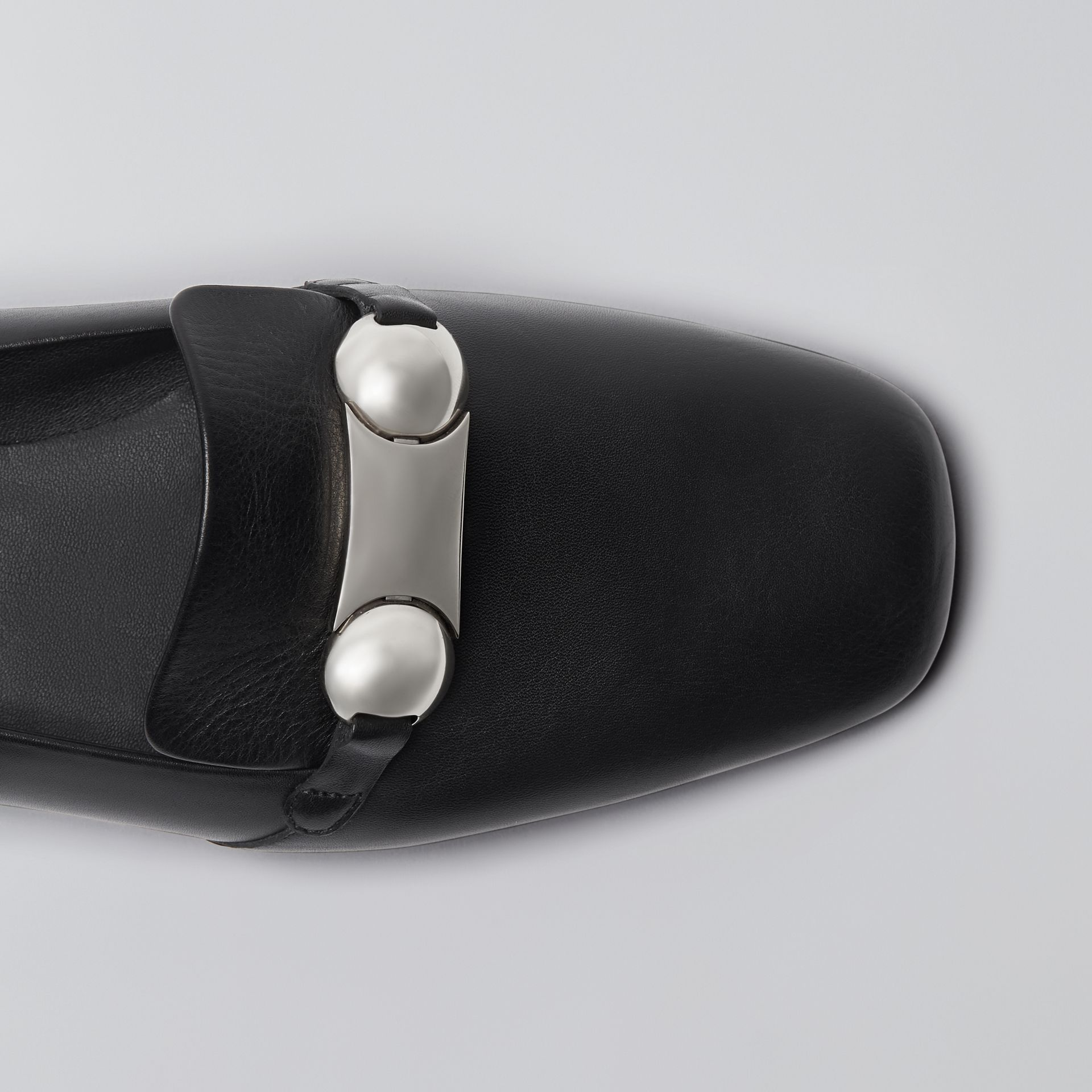 Studded Bar Detail Leather Loafers in Black - Women | Burberry - gallery image 1