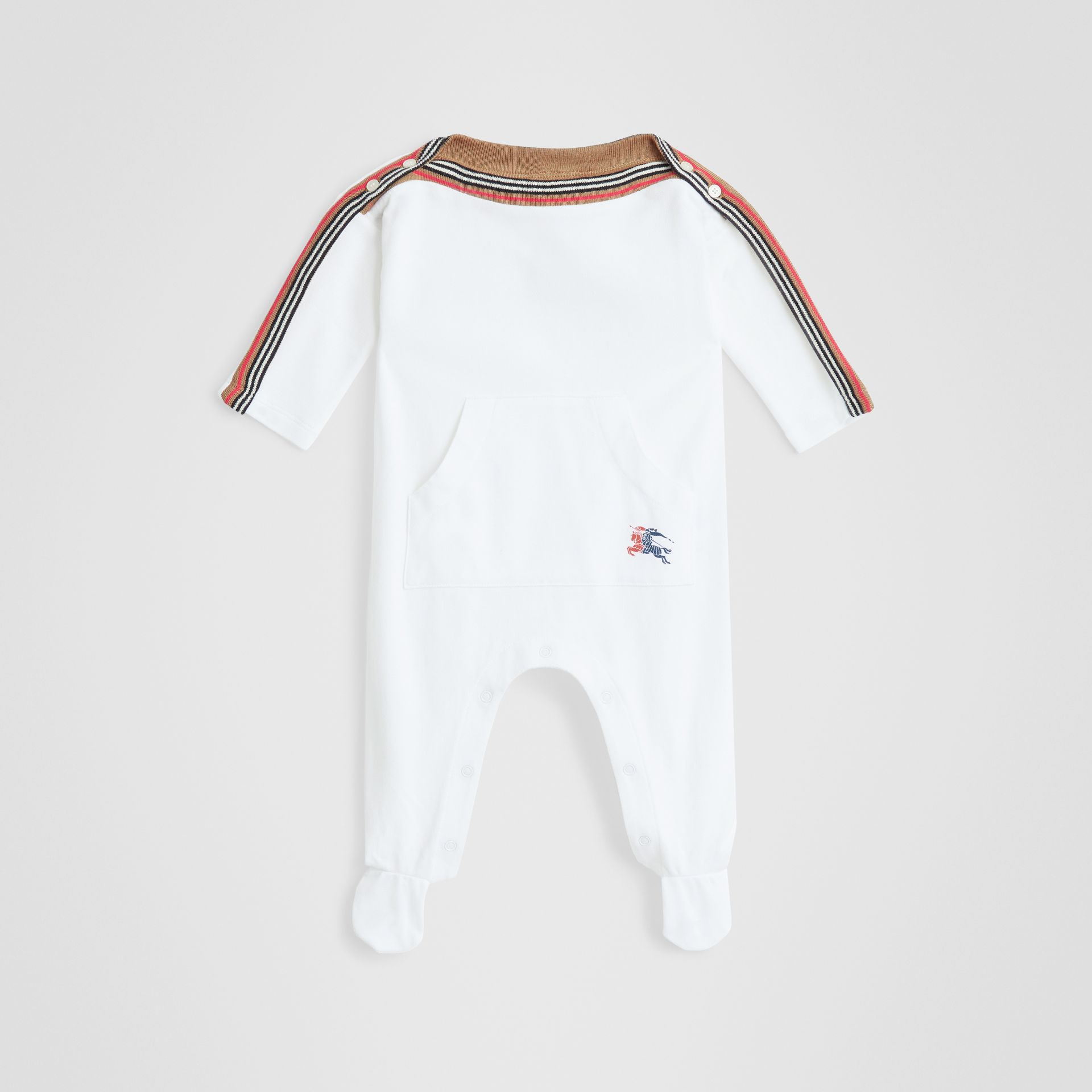 Icon Stripe Cotton Piqué Two-piece Baby Gift Set in White - Children | Burberry - gallery image 2
