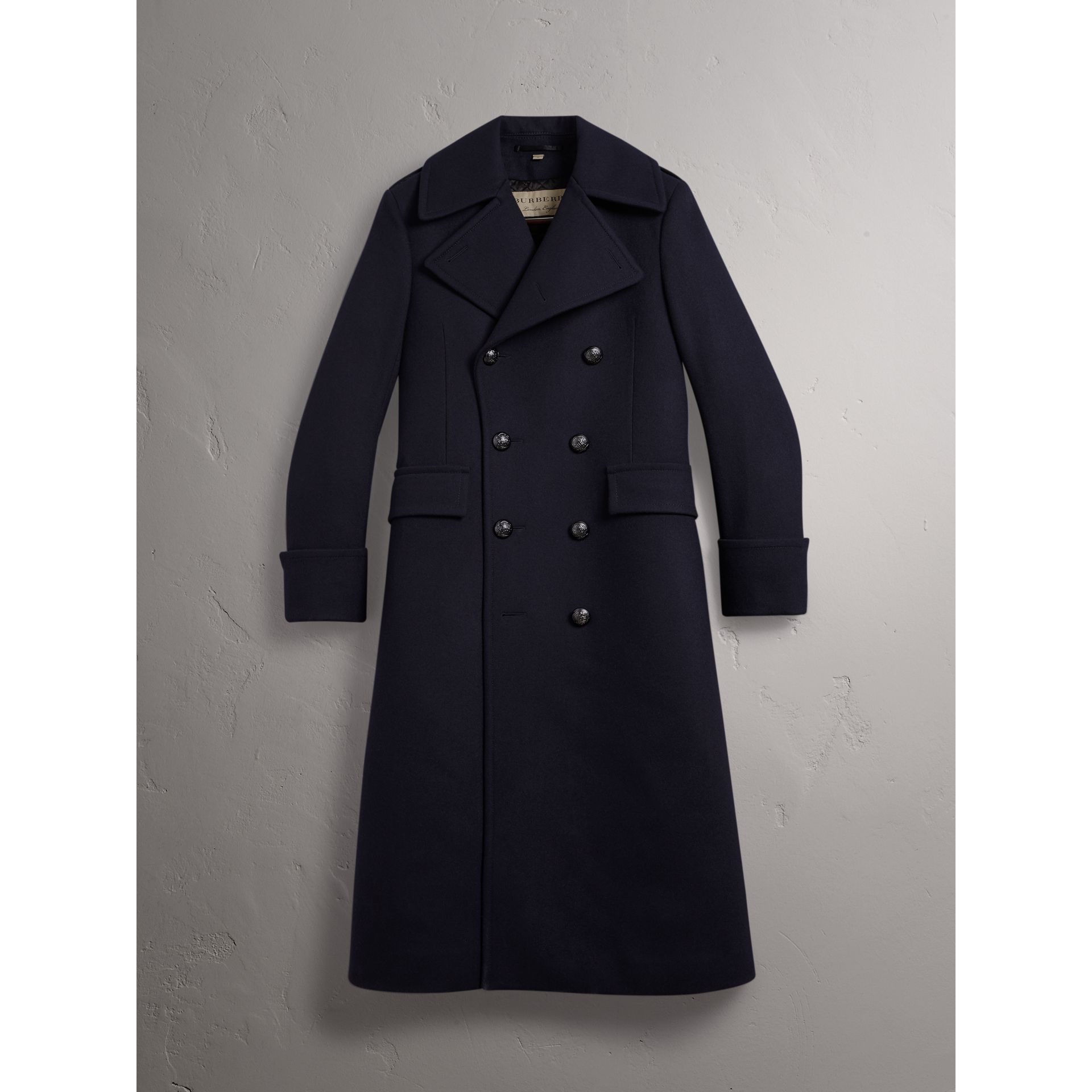 Detachable Mink Collar Wool Greatcoat in Navy - Men | Burberry Singapore - gallery image 4