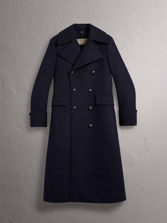 Detachable Mink Collar Wool Greatcoat in Navy - Men | Burberry Singapore - cell image 3