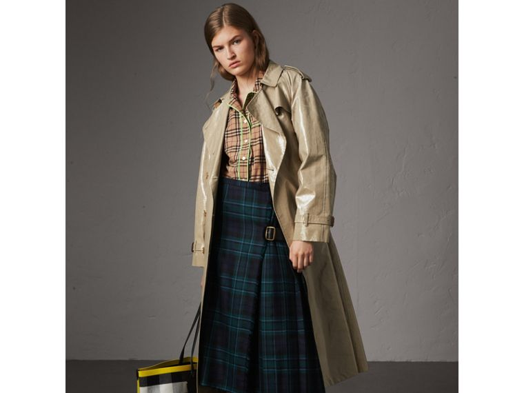 Contrast Piping Check Cotton Pyjama-style Shirt in Camel - Women | Burberry Australia - cell image 4