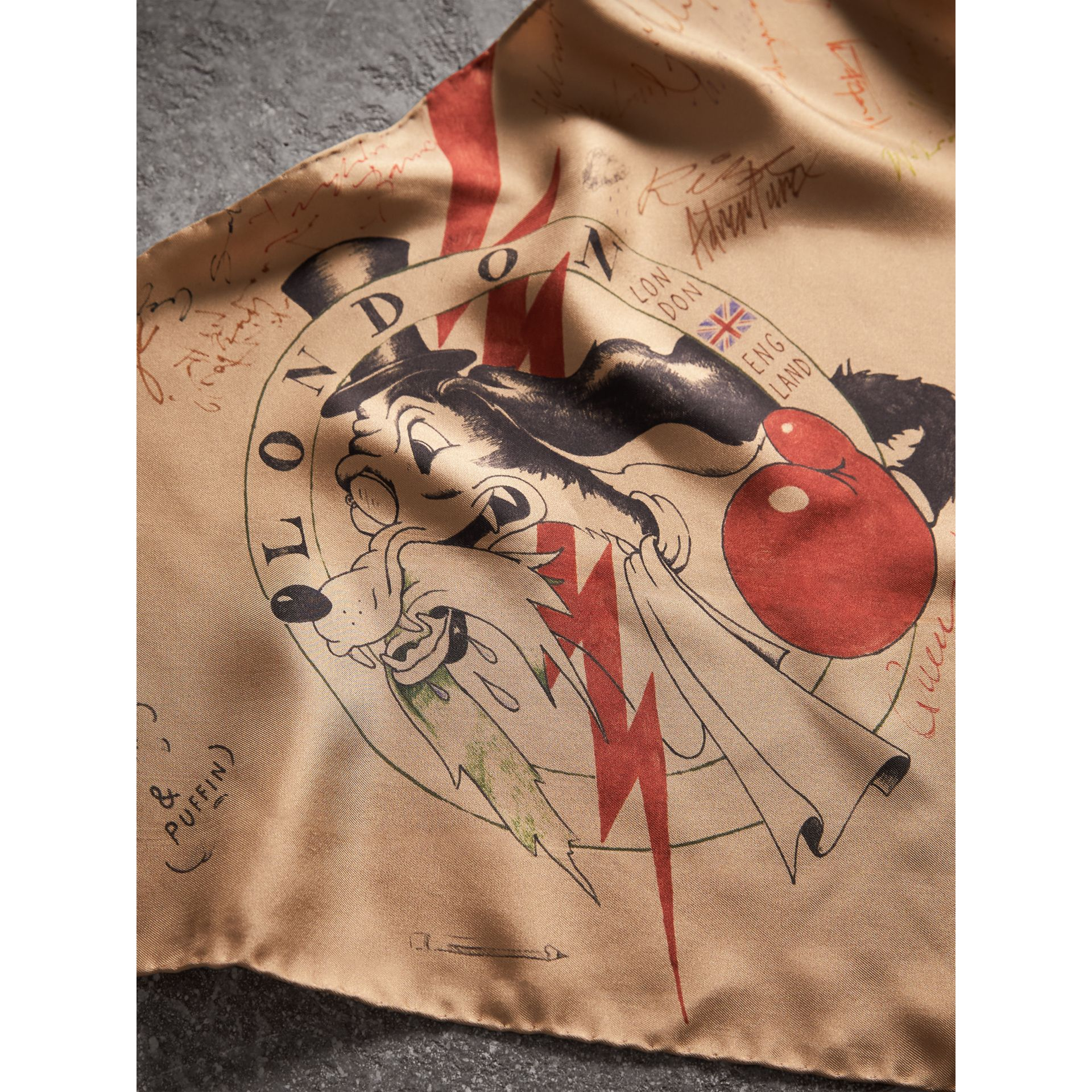 The Burberry Bandana in Sketch Print Silk in Honey | Burberry - gallery image 4