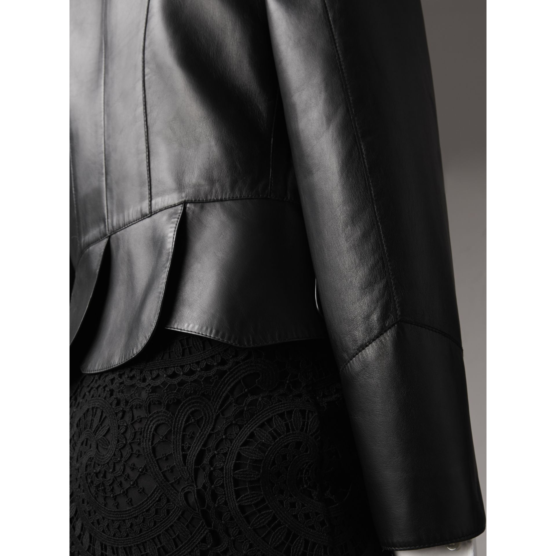 Lambskin Military Jacket in Black - Women | Burberry - gallery image 5
