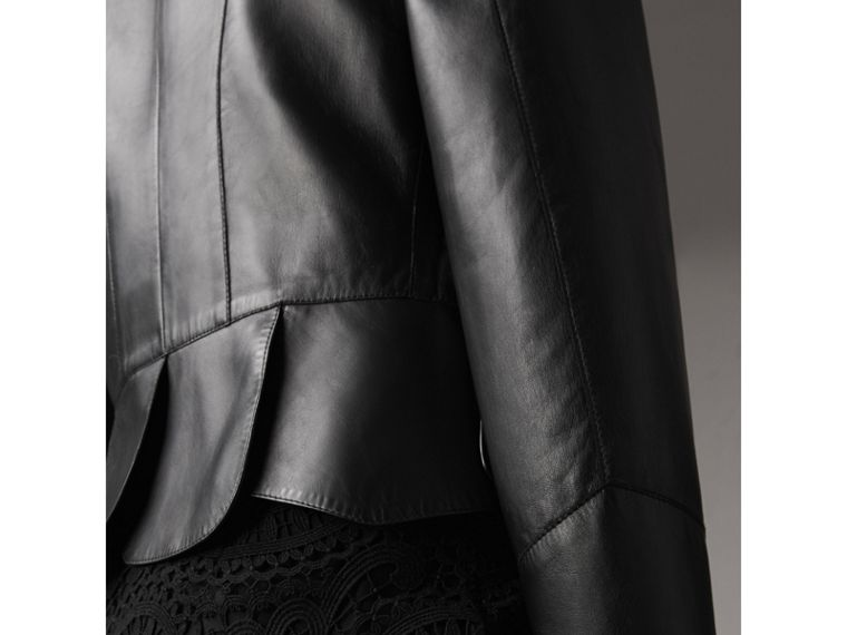 Lambskin Military Jacket in Black - Women | Burberry - cell image 4