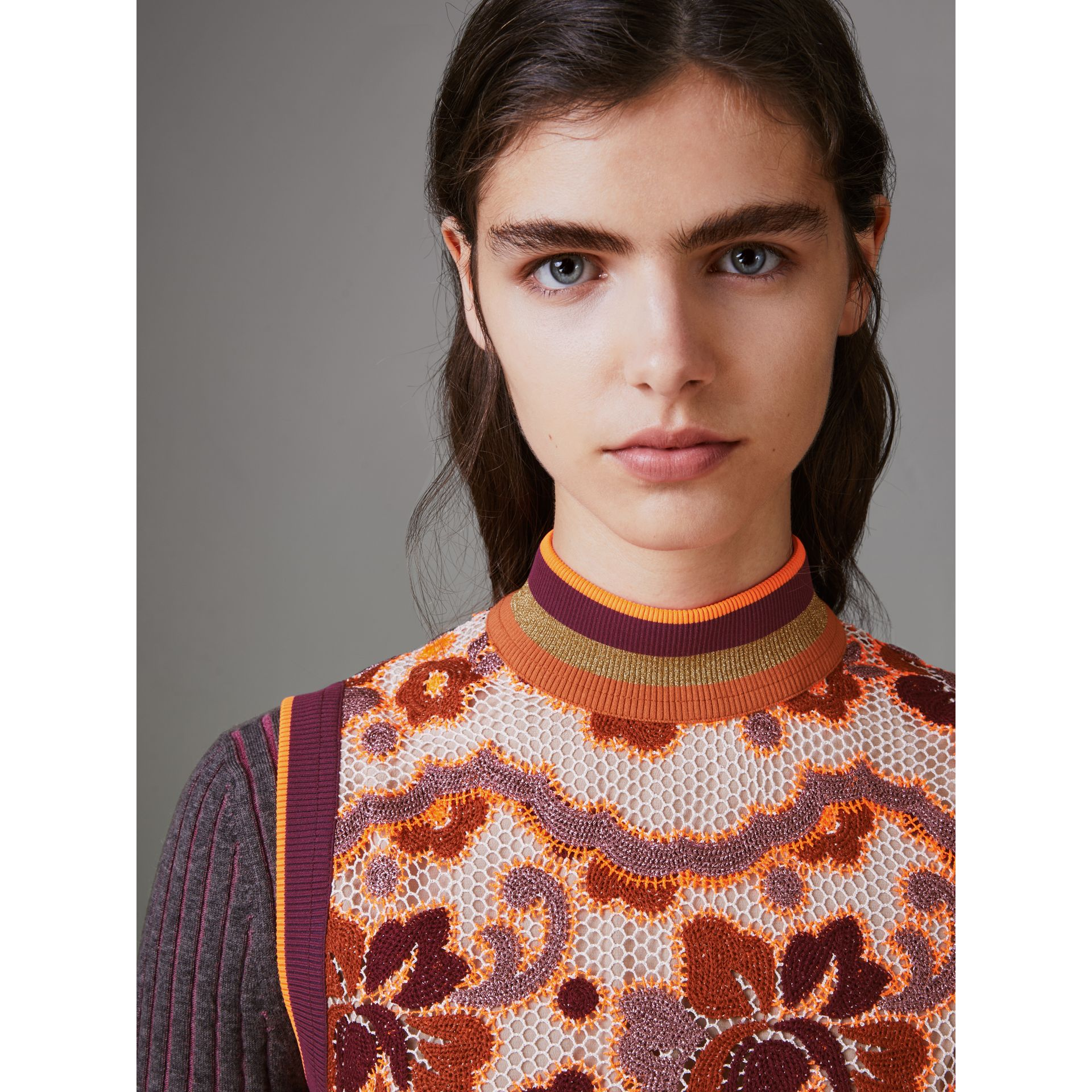 Floral Crochet Shift Dress in Bright Orange - Women | Burberry United States - gallery image 1