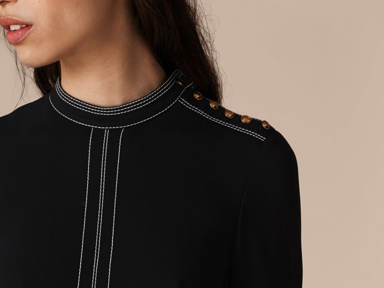 Black Regimental Wool Silk Shift Dress - cell image 4