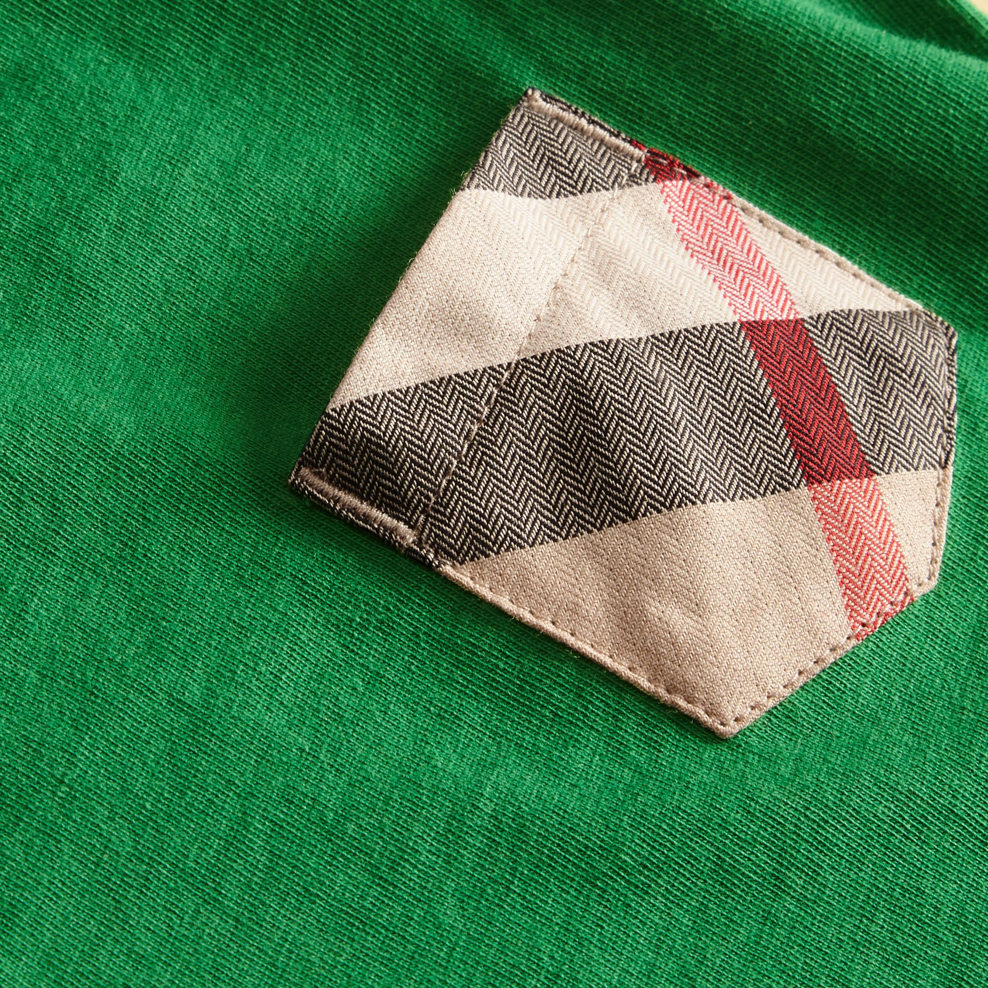 Check Pocket T-Shirt Bright Pigment Green - gallery image 2