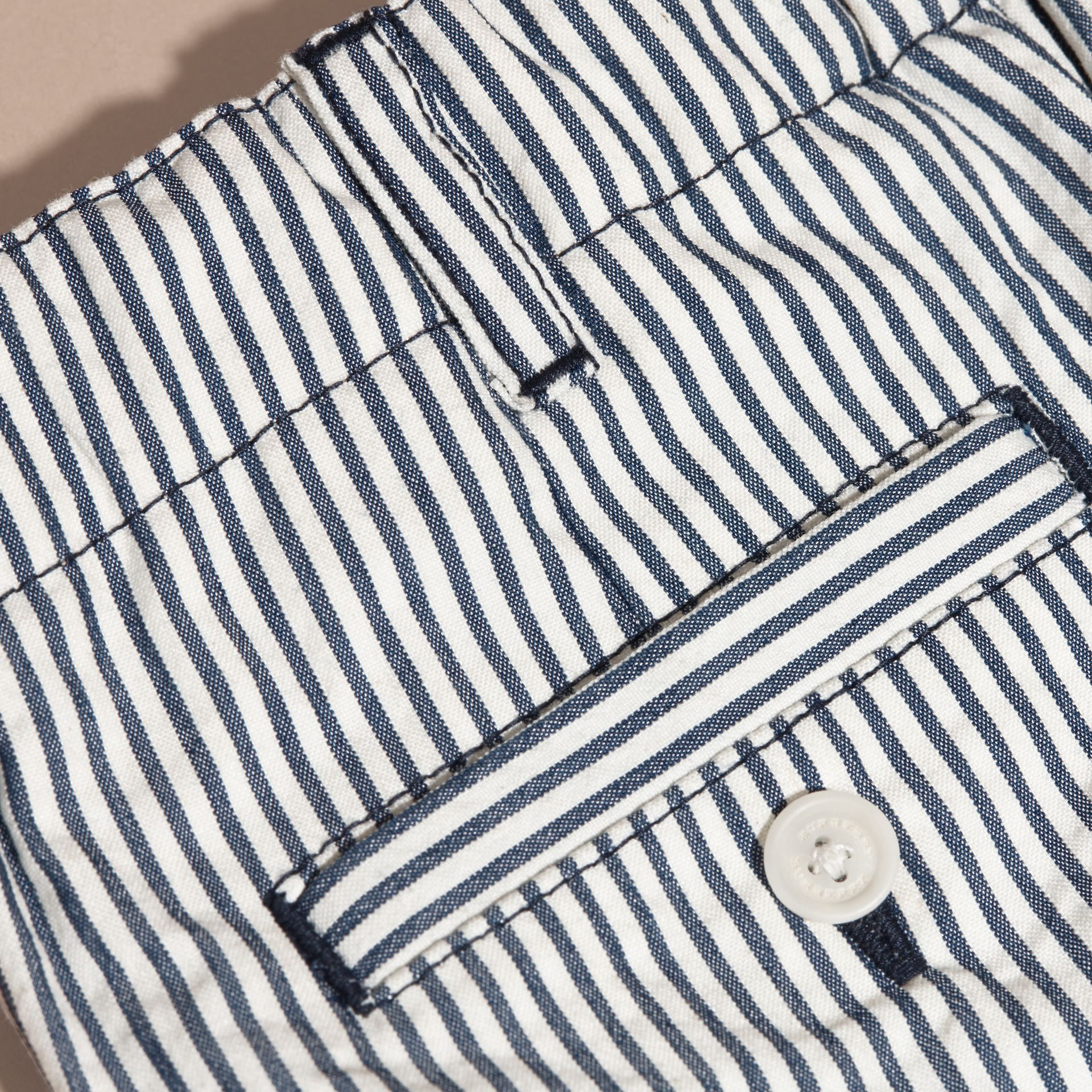 Striped Cotton Blend Shorts with Check Detail in Indigo | Burberry - gallery image 2