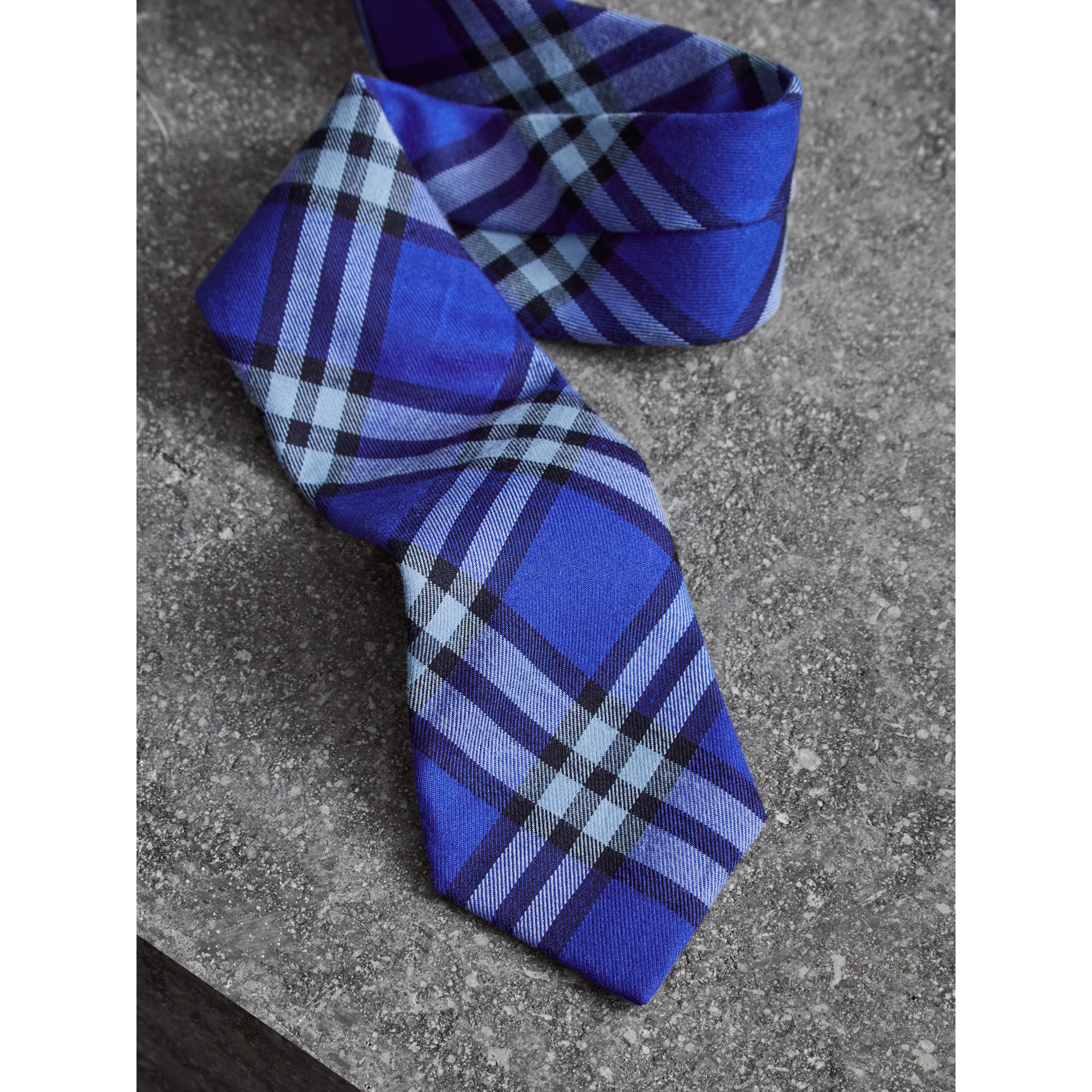 Slim Cut Check Cotton Tie in Light Blue - Men | Burberry - gallery image 1