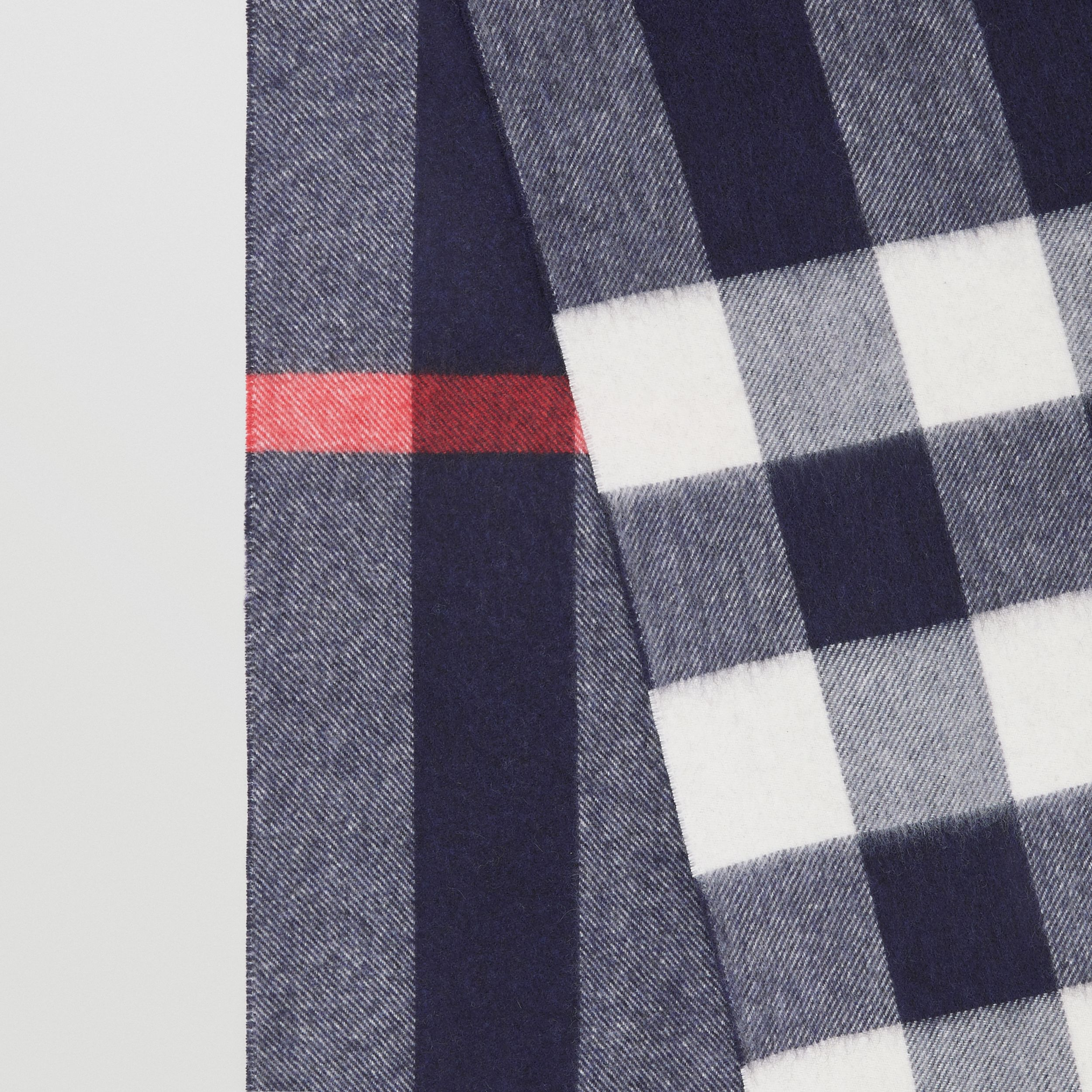 Check Cashmere Scarf in Navy | Burberry - 2