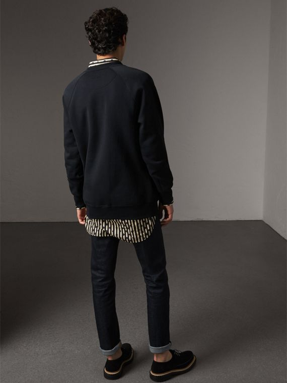 Tartan Panel Jersey Sweatshirt in Navy - Men | Burberry - cell image 2
