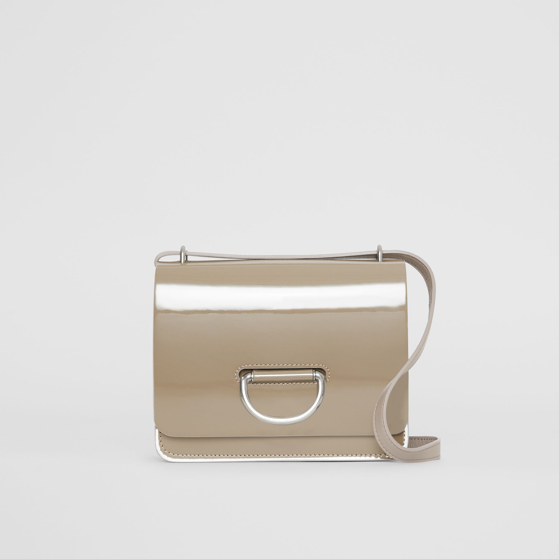 The Small Patent Leather D-ring Bag in Taupe Grey - Women | Burberry - gallery image 0