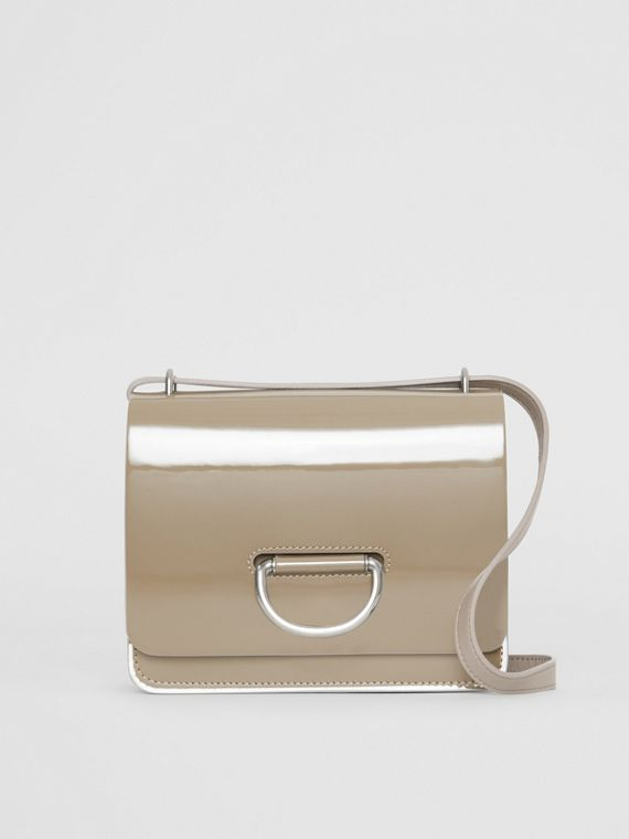 The Small Patent Leather D-ring Bag in Taupe Grey